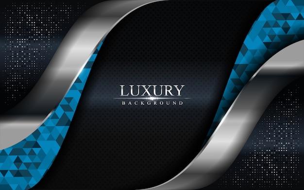 Luxe donkere achtergrond met blauw mozaïek en zilveren lijnen