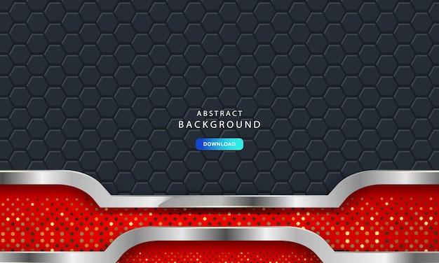 Luxe donkere achtergrond met koolstofvezel zeshoek textuur. moderne achtergrond met metalen lijnen. abstracte futuristische luxe rode achtergrond.
