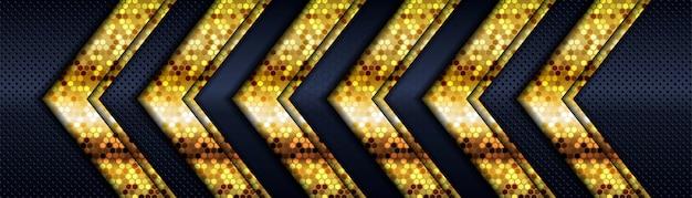 Luxe donkere marineblauwe achtergrond met gouden lijnen overlappende laag