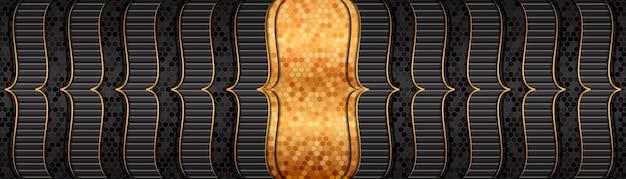 Luxe donkergrijze banner met gouden lijnen overlappende laag