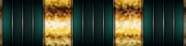 Luxe donkergroene overlapping met realistische gouden lijn en zeshoek op glanzend goud