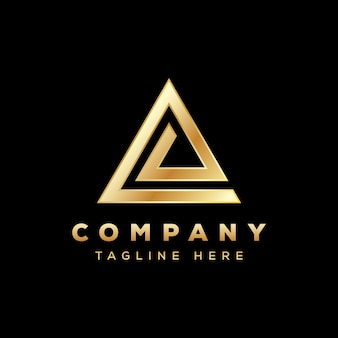 Luxe driehoekslogo, letter e driehoekslogo, delta-logo goud
