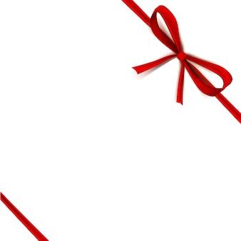 Luxe dunne geschenkboog met rode knoop of lint en ruimteframe voor tekst, cadeaupapier voor banner, posterontwerp.