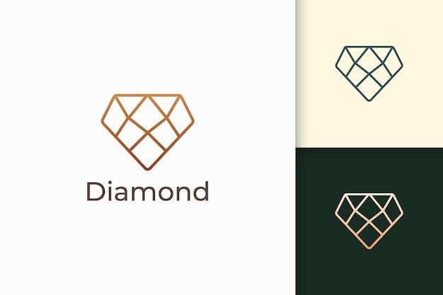 Luxe edelsteen- of juweellogo in diamantlijnvorm met gouden kleur