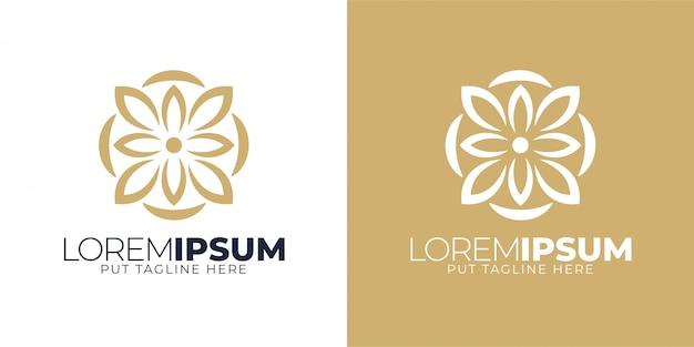 Luxe eenvoudige bloemen logo ontwerpsjabloon