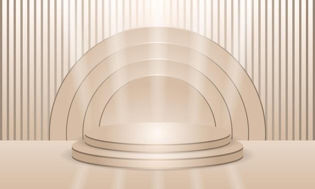 Luxe elegante podium crèmekleurige schaduwscène met lijnen displaystandaard