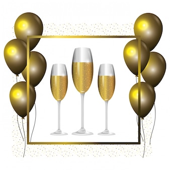 Luxe en elegant frame met ballonnen en champagne cartoon