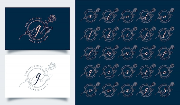 Luxe en elegante bloemen alfabet logo sjabloon