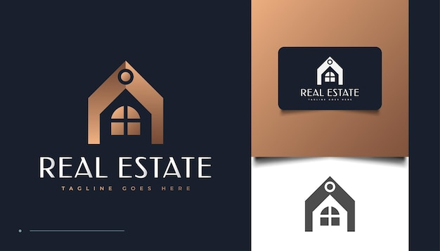 Luxe en elegante onroerend goed logo ontwerpsjabloon. ontwerp van bouw-, architectuur- of gebouwlogo