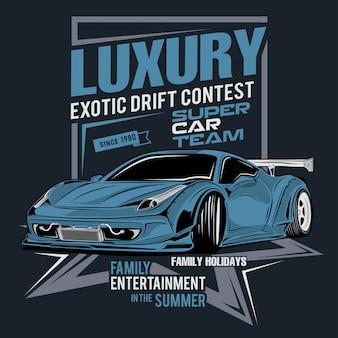 Luxe en exotische driftwedstrijd, vectorautoillustratie