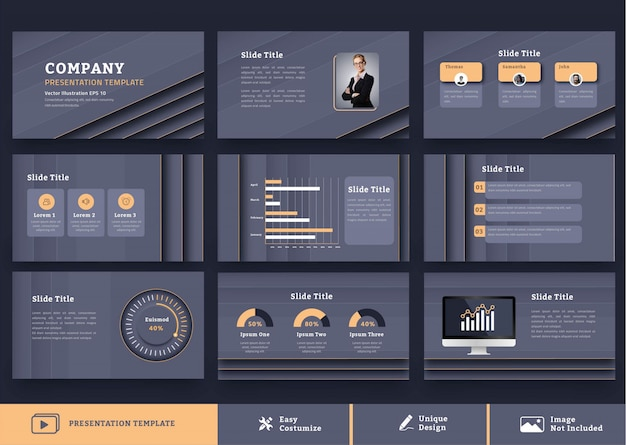 Luxe en futuristische bedrijfspresentatie ontwerpsjabloon 9 pagina's