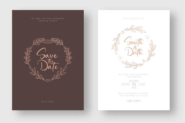 Luxe en minimale bruiloft uitnodiging kaartsjabloon met lijn kunst stijl bloemen krans illustratie