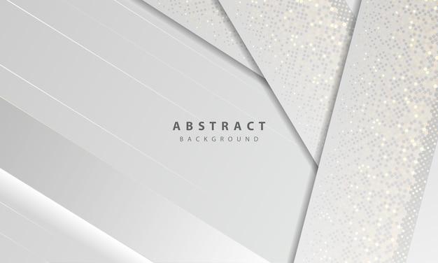 Luxe en moderne concept textuur met zilveren glitters stippen element decoratie. witte abstracte achtergrond met papier vormen overlappende lagen.