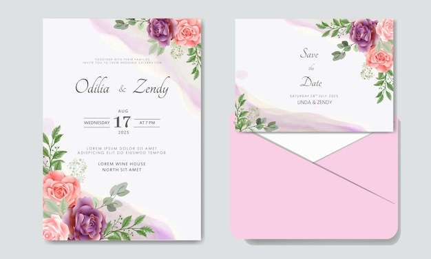 Luxe en schoonheid bloemenhuwelijksuitnodiging