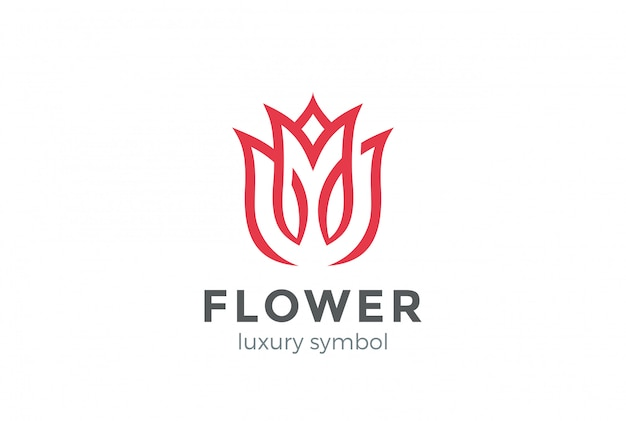 Luxe fashion flower logo abstract lineaire stijl. looped tulip rose lines logo ontwerpsjabloon
