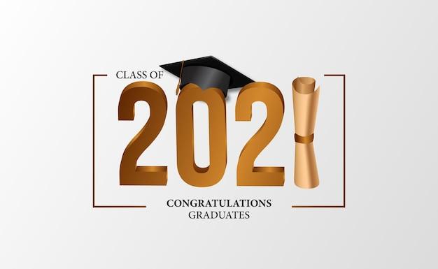 Luxe feestevenement van klasse van afstuderen felicitatie award met certificaat en sjabloon voor spandoek van afgestudeerde pet hoed met witte achtergrond