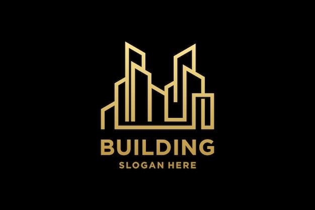 Luxe gebouw architectuur logo ontwerp inspiratie
