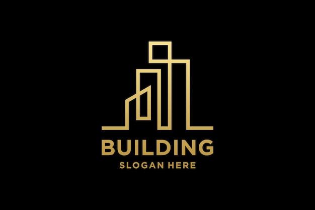 Luxe gebouw architectuur logo-ontwerp met lijn kunststijl
