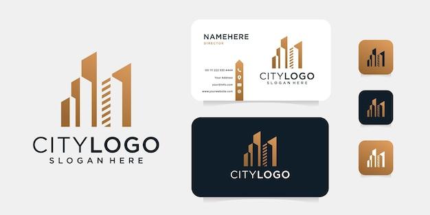 Luxe gebouw logo-ontwerp met sjabloon voor visitekaartjes.