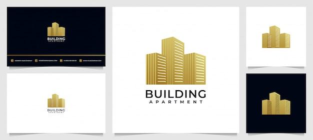 Luxe gebouw logo-ontwerpinspiratie met visitekaartje
