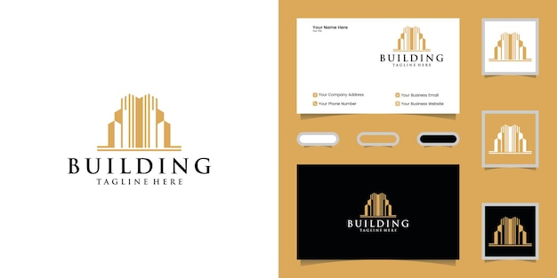 Luxe gebouw logo ontwerpsjabloon en visitekaartje