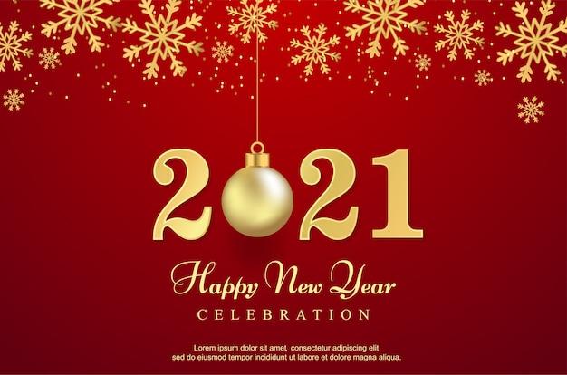 Luxe gelukkig nieuw 2021 jaar met bal achtergrond.