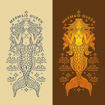 Luxe glanzende monoline zeemeermin koningin illustratie