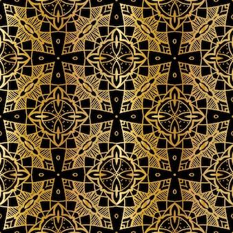 Luxe goud batik naadloos patroon, batik indonesisch is een techniek van wax-resist verven toegepast op hele doek