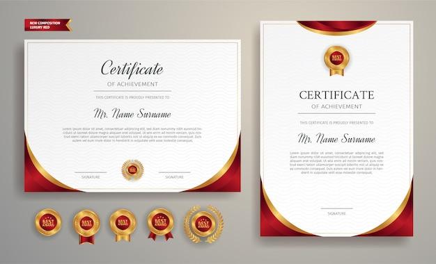 Luxe goud en rood certificaat met badge en rand sjabloon