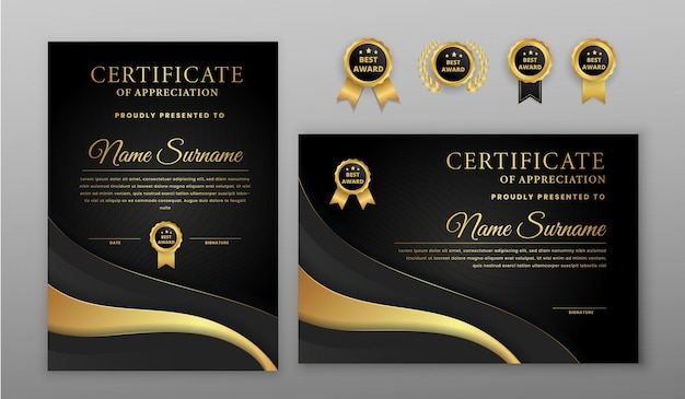 Luxe goud en zwart certificaat met gouden badge en grenssjabloon