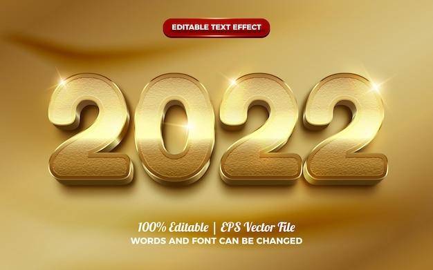 Luxe gouden 2022 bewerkbaar teksteffect voor gelukkig nieuwjaar
