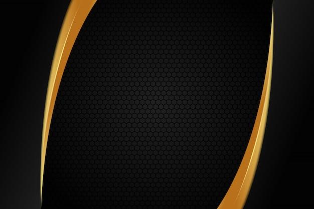Luxe gouden achtergrond met zeshoekig donker patroon