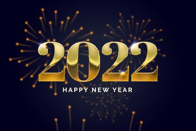 Luxe gouden achtergrond voor 2022 met vuurwerk