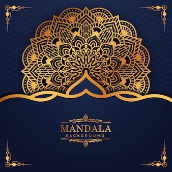 Luxe gouden arabesk patroon in mandala achtergrond arabische islamitische oost-stijl premium vector