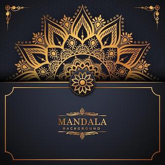 Luxe gouden arabeskpatroon op mandalaachtergrond premium vector
