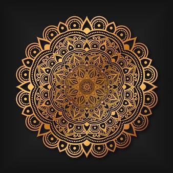 Luxe gouden arabesque achtergrond zwart