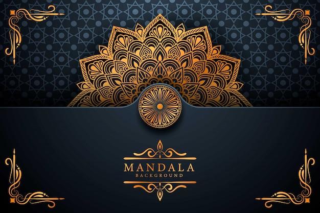Luxe gouden arabesque mandala achtergrond
