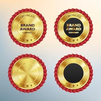Luxe gouden badges en labels premium kwaliteitsproduct Premium Vector