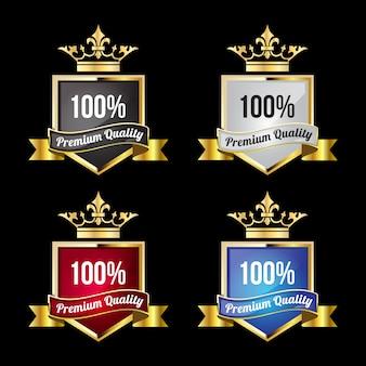 Luxe gouden badges en labels voor 100% premium kwaliteit en tevredenheid met kroon bovenop