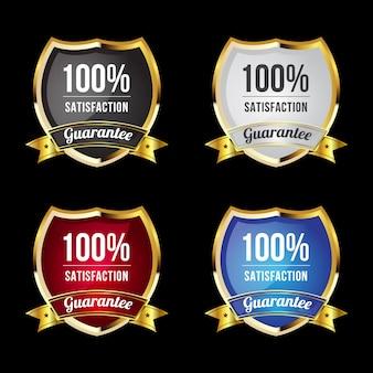 Luxe gouden badges en labels voor 100% premium kwaliteit en tevredenheid