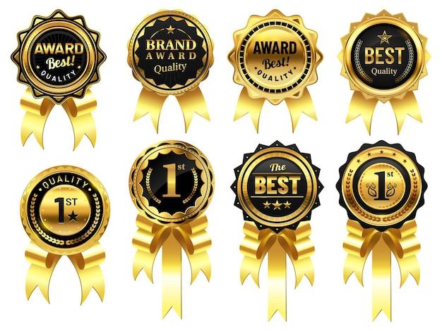 Luxe gouden badges met linten. award voor beste kwaliteit, eerste plaats medaille