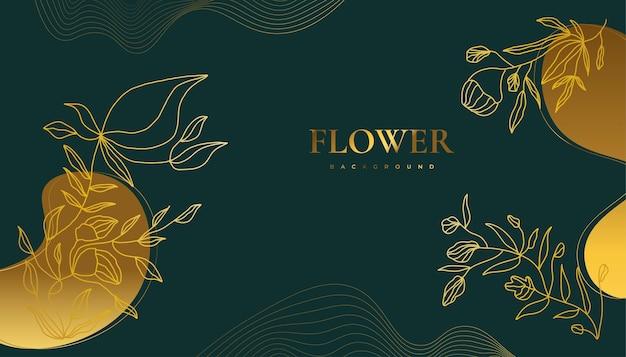 Luxe gouden bloem achtergrond met elegante tropische zomerbladeren. luxe natuurachtergrond met bloemenillustratie