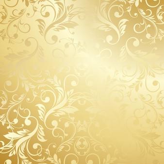 Luxe gouden bloemen behang
