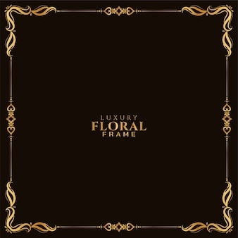 Luxe gouden bloemen frame ontwerp stijlvolle achtergrond