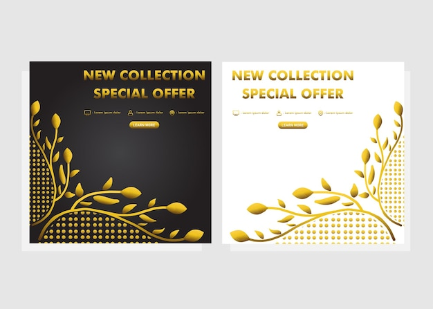 Luxe gouden bloemen social media postsjabloon. nieuwe collectie promotie post ontwerp