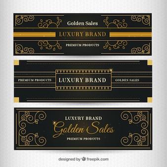 Luxe gouden decoratieve banners
