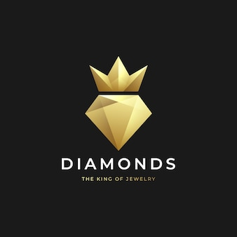 Luxe gouden diamant met kroonlogo-ontwerp