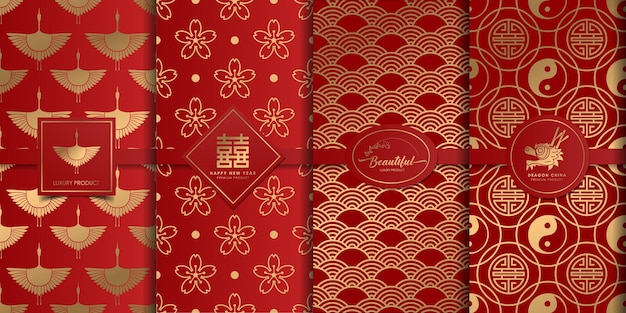 Luxe gouden en rood patroon chinees ontwerp.
