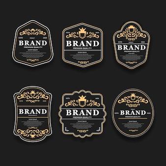 Luxe gouden en zwarte premium kwaliteit beste keuze labels set geïsoleerd