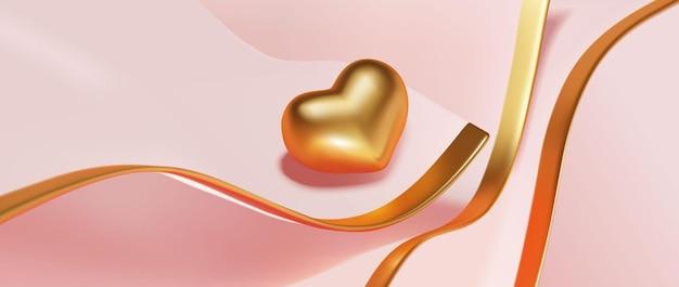 Luxe gouden hart voor achtergrond Premium Vector
